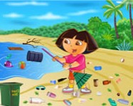 Ecofreak Dora cleaning beach ingyen j�t�k